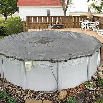 Swimming Pool Winter Cover / Pool Size 18ft x 40ft Oval / 20yr Silver - WC9833