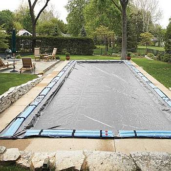 Solid Winter Pool Covers for 25 x45 Rectangle In Ground Swimming Pools / 20yr Silver - WC9853