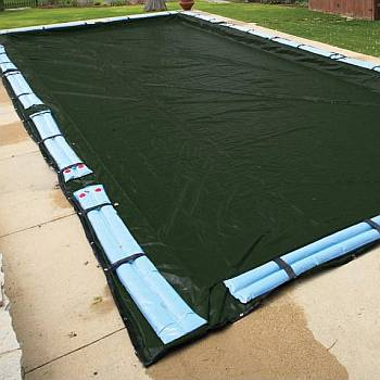 Winter Cover / Pool Size 14ft x 28ft Rectangle / 12yr Forest Green