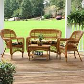 Tortuga Portside Southwest Amber Wicker Conversation Set
