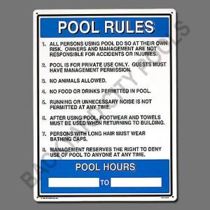 Commercial and residential swimming pool signs