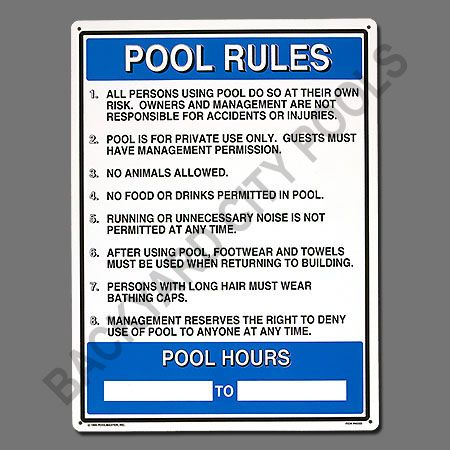 Commercial Pool Rules Sign 40322