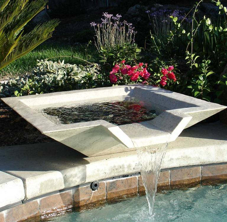 Swimming Pool Fountains : Dress up plain pools with simple elegance swimming pool